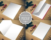 Greeting Card Mockup - Instant Download - Photoshop PSD Template - Display Holiday, Birthday, Wedding Cards.  Front, Inside and Envelope