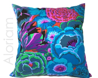 Kaffe Fassett Floral Cotton Print Decorative Throw Pillow Cover Case Home Decor Accent Cushion, Hidden Invisible Zipper, Blue Green Pink