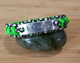 Breathe CUSTOM Stamped Paracord BRACELET  Your Colors and Size Personalized Aluminum