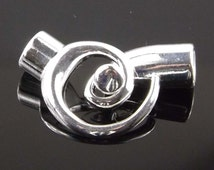 Kumihimo Spiral End Clasp Silver Plate 6.2 ID