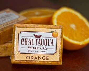 Orange Bar Soap - Made with Organic Ingredients and Essential Oils - Chautauqua Soap Co