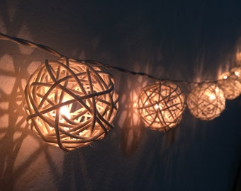 20x White Rattan  string light for decor ,bedroom, wedding, party, garden,lamp,lantern