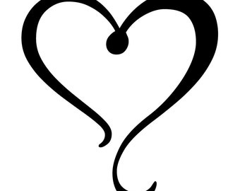 Heart OPEN HEART outline logo laptop cup decal SVG Digital ...