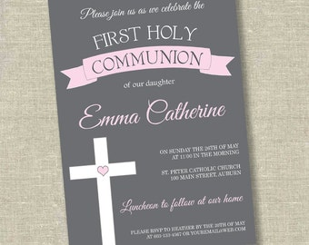 First communion invitation, communion invitation, 1st communion invitation, girl communion invitation, boy communion invitation