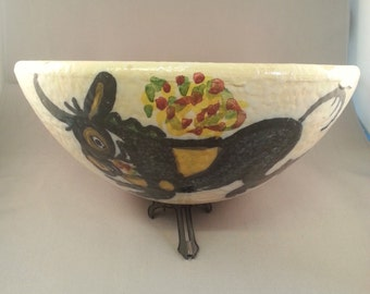 Retro mid century Italian art pottery fruit bowl