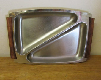 Mid-century Hong Kong stainless steel divided tray, wooden handles