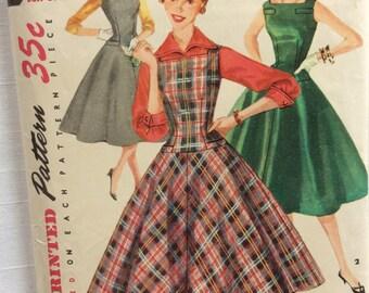 Simplicity 1222 vintage 1950's misses' dress, jumper & blouse sewing pattern size 12 bust 30