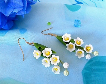 """Earrings """"Lily of the valley""""-Spring flowers jewelry-White flower earrings-Floral earrings-Floral fashion"""