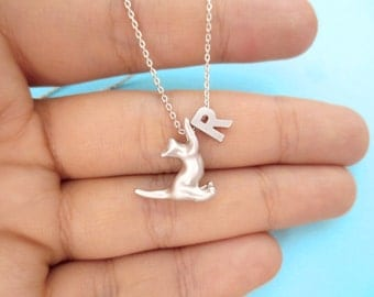 Loverly, Personalized, Letter, Initial, Cat, Gold, Silver, Necklace, Animal, Necklace, Birthday, Friendship, Mom, Sister, Gift, Jewelry
