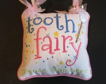 Personalized Pink Tooth Fairy Pillow With Pocket,  Girl's Tooth Pillow, Tooth Pillow