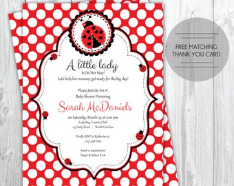 Ladybug Baby Shower Invitation, Thank You Card, Lady Bug Little Lady Baby Shower Invite