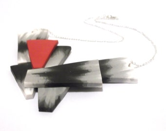 Triangle Modern Necklace ( geometric necklace statement necklace prism necklace minimalist necklace silver necklace perspex necklace )