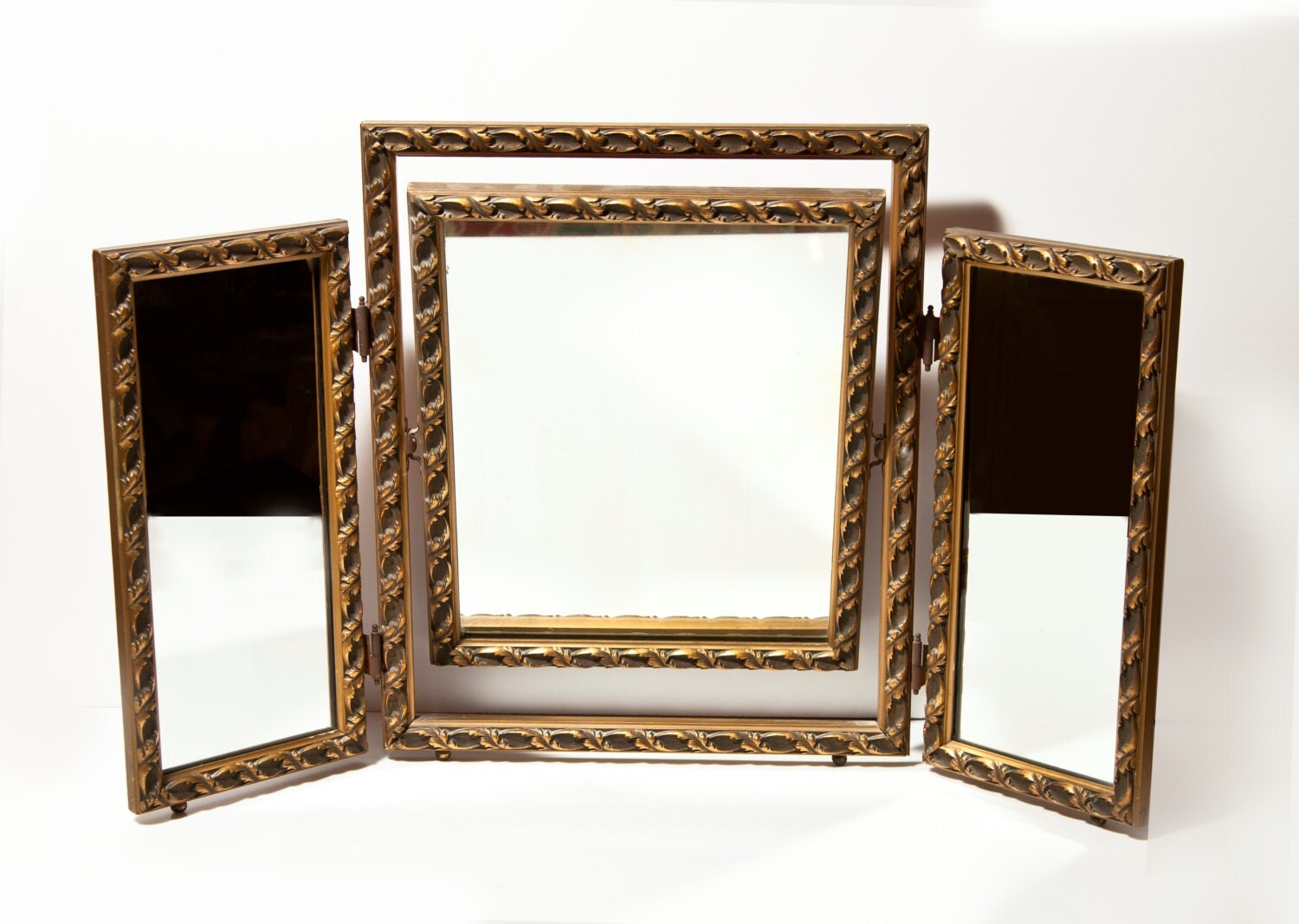 antique tri fold vanity mirror by raminandsons on etsy. Black Bedroom Furniture Sets. Home Design Ideas