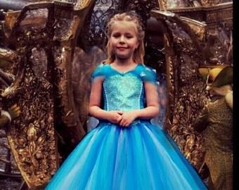 Cinderella 2015 Inspired Sparkly Tutu Dress-Birthday, Party, Photo Prop, Pageant, Fancy Dress, Princess