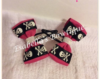 Pink and black snap clips ONE PAIR