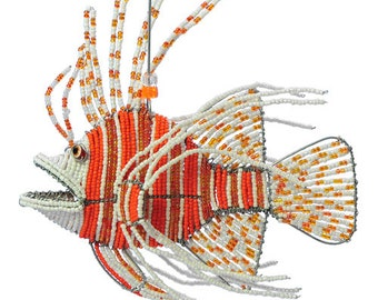 African Fair Trade Beaded Lionfish Figurine -  Wireworx wire and glass beaded animal