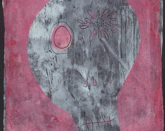 """grey pink skull flower monoprint original print original art """"skully #1"""""""