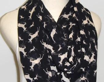 Infinity scarf, deer scarf, black scarf