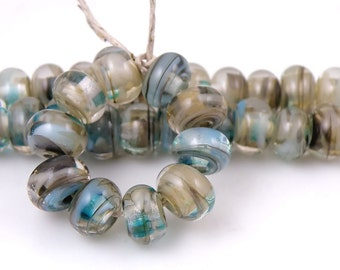Victoria Swirls Made to Order SRA Lampwork Handmade Artisan Glass Spacer Beads Set of 10 5x9mm