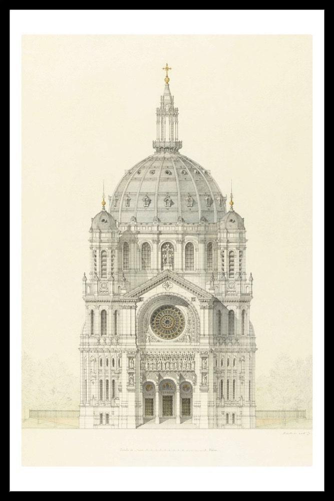 Framed church of st augustin religious art print vintage for Printing architectural drawings