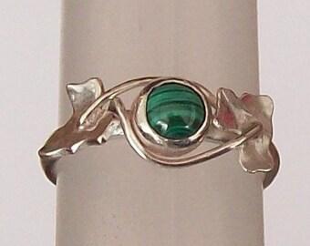 Malachite Ring ,  Ivy Leaf Ring , Leaf Ring , Sterling Silver
