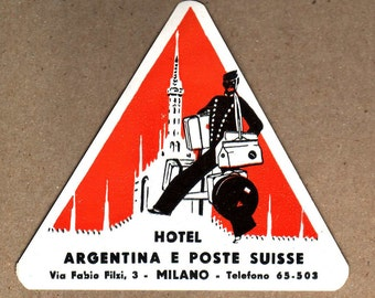 Genuine Vintage Original Unused Luggage  Label Hotel Argentina Milan -- Free Shipping