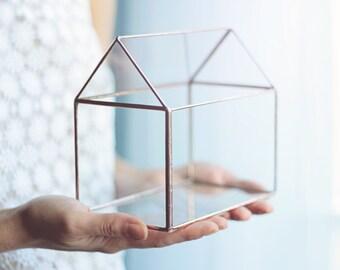 Glass House, Terrarium Container, Dorm Decor, Fairy Lights Box, Jewelry Box, Geometric Display Box, Small Glass Planter, Copper Home Decor