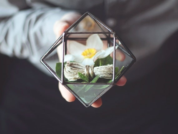 NEW! Mini Geometric Terrarium / Cuboctahedron / Ring Pillow Alternative / Wedding Ring Box / Glass Box / Geometric Box / Ring Bearer Box