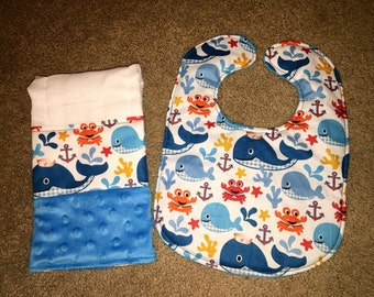 Nautical baby bib and burp cloth set