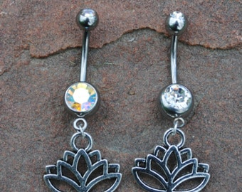 Lotus Flower Belly Button Navel Ring Peircing, Body Jewelry, 14 G