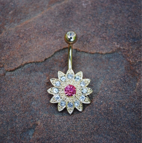 14kt gold flower belly button navel ring by