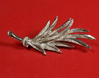 French Vintage Silver Leaf Pin / Brooch.