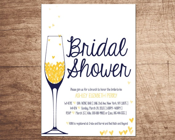 Items similar to champagne brunch bridal shower invitation for Champagne brunch bridal shower