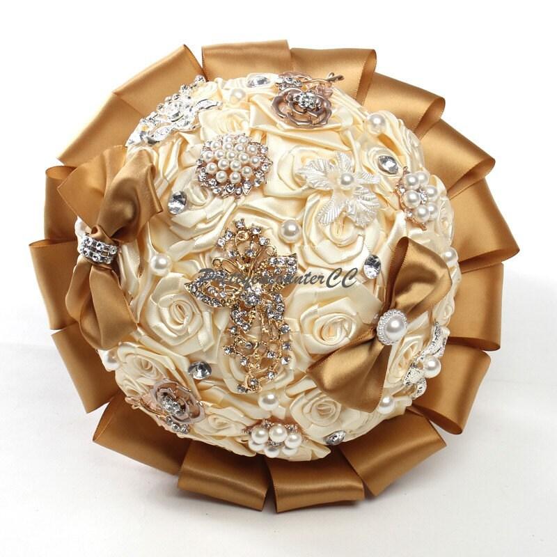 Bouquet Natalizio Matrimonio : Bouquet di nozze d oro fatti a mano fiori matrimonio