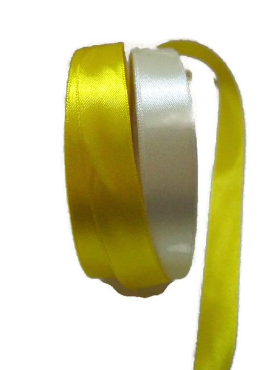 two rolls of yellow satin ribbon, pale lemon, deep yellow, craft tape, 25m rolls on each