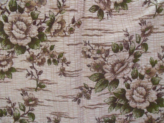 """floral barkcloth curtains c1960's retro curtains, boat caravan or camper, green and brown, 41""""w x 43""""d ,"""