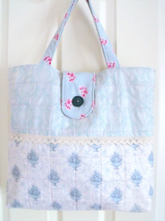 tote bag, Tilda shopping bag, beach bag, large patchwork bag, pale green shopper, nappy bag, diaper bag, Tilda fabric in shades of green