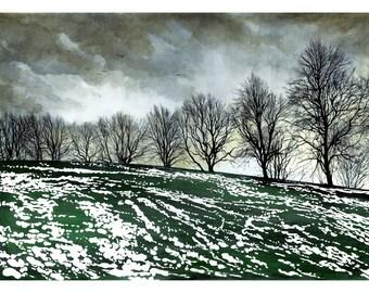 Winter Park. Original watercolour painting showing a Scottish winter park landscape.