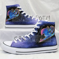 Fairy Tail Anime Shoes With Galaxy Background Hand Painted
