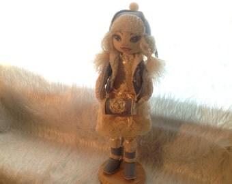 "Interior doll ""Winter"" with pedestal 40cm"