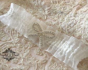 Crystal Vintage Wedding Garter Bride Luxury Lace Glamorous Pearl Great Gatsby Vintage Glam Rhinestone Gift Hen -  Forever Vintage Garter