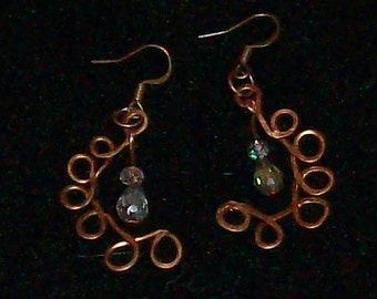 Copper twist with crystals earrings
