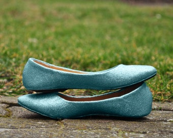 Flat wedding shoes Blue wedding shoes Light blue wedding shoes Wedding flats blue Glitter flats low high heels SIZE 9