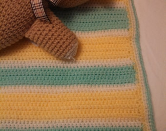 Yellow and Mint Striped Baby Afghan