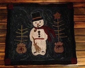 Bing Snowman Rug Hooking Pattern