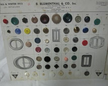 Vintage Salesman Sample 2 Button Cards 1954 Rhinestones, glass, plastic B. Blumenthal Co. Inc Spring & Summer Fall Winter
