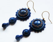 SAFAIA - navy blue embroidered earrings with lapis lazuli on 24k gold plated sterling silver earwires; unique handmade, original