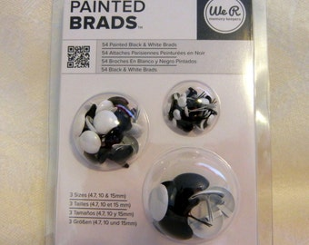 We R Memory Keepers PAINTED BRADS (Black & White) 3 sizes,  54 total
