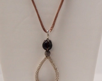 Adjustable Length Necklace in Brown Quartz, sterling Silver and Silk Cord