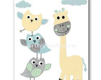 INSTANT DOWNLOAD Art Giraffe Nursery Prints Baby Boy Nursery Art Digital Art Printable Art Digital Download 8x10 11X14 Gray Yellow Blue